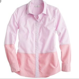 J. Crew Boy Shirt in Colorblock Oxford, pink